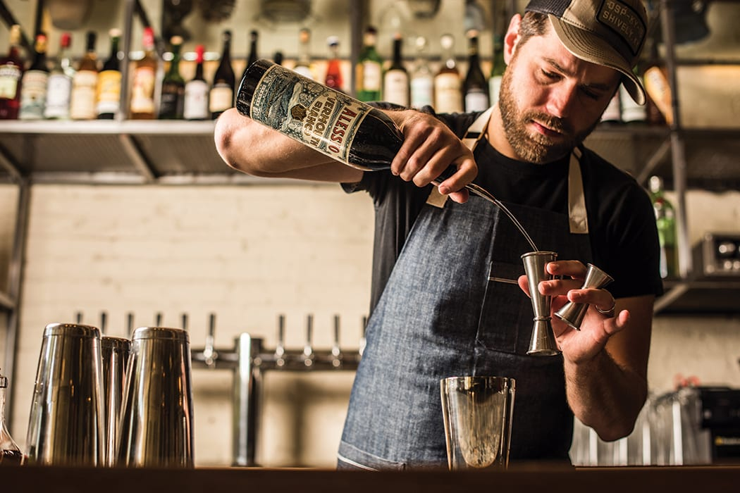Bad Hunter in Chicago is a new veggie-centric restaurant with a bar program highlighting low-ABV drinks.   Photo by Anthony Tahlier.