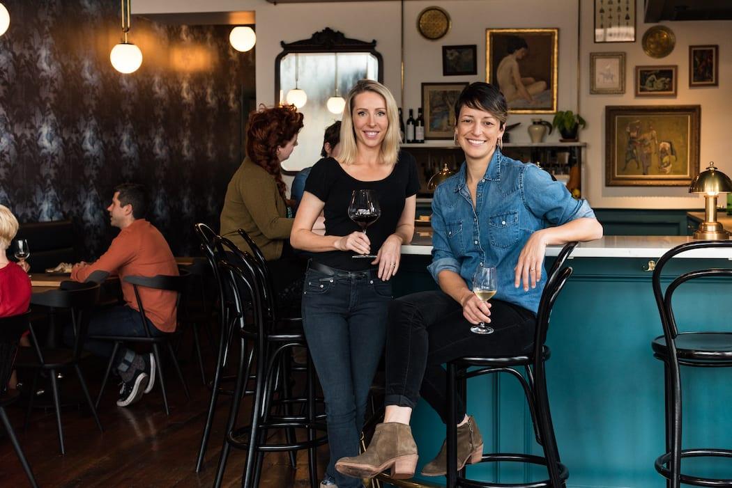 Jane Smith, left, and Dana Frank at Dame in Portland, Oregon.   Photo by Dina Avila.