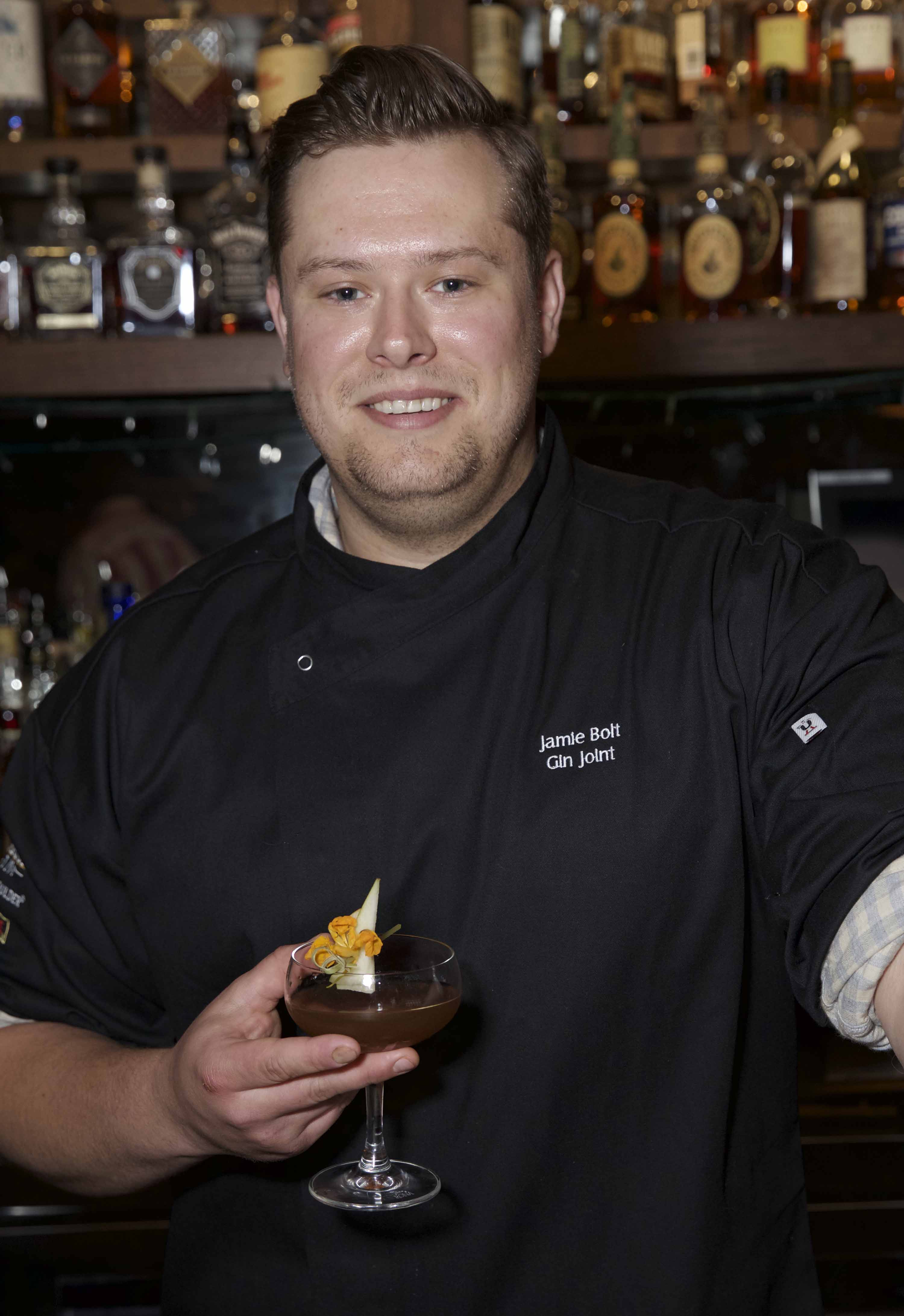 Iron Mixologist Winner Jamie Bolt from the Gin Joint.   Photo by Marie Rodriguez, courtesy of CharlestonWine + Food