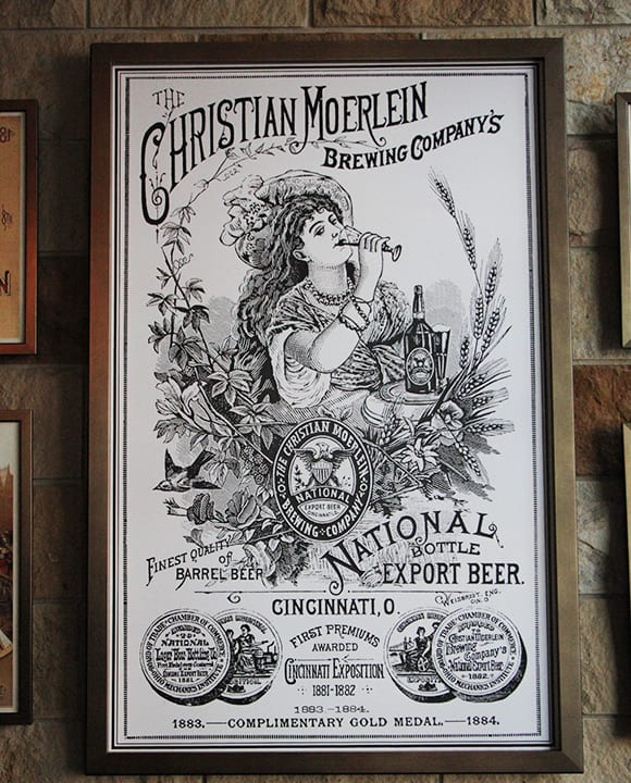 The Moerlein Lager House on the riverfront decks the halls with old Cincinnati beer paraphernalia.