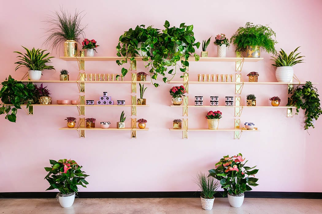 Custom brass shelving showcases locally made leather goods, vegan beauty products and other items chosen by Geraldine Ridaura.