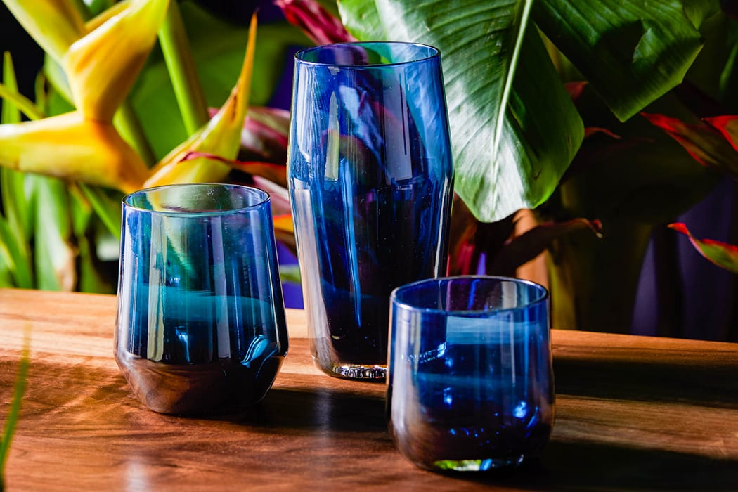 Inspired by the pure deep blue shades of the ocean, the newest limited edition glassware from Mazama evokesthe tranquil vibes of a holiday weekend in the tropics. $34-$38, tannergoods.com