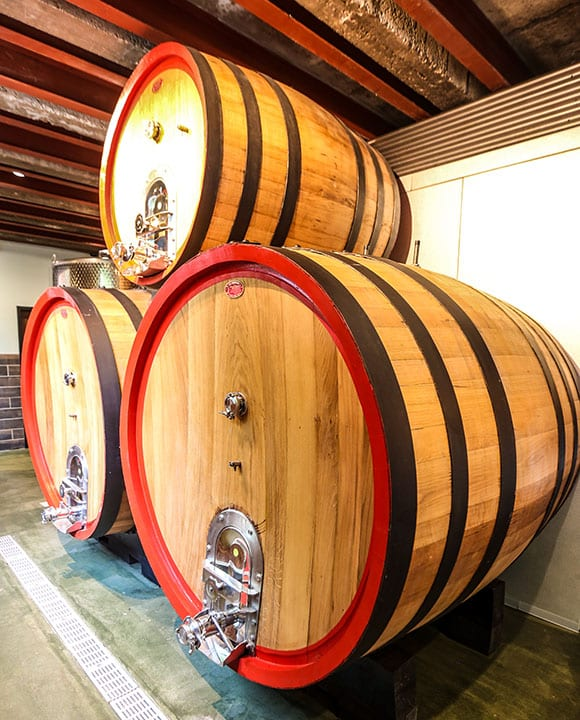 The house ciders will rest in wooden barrels from Italy, directly to the side of the bar within the tasting room.