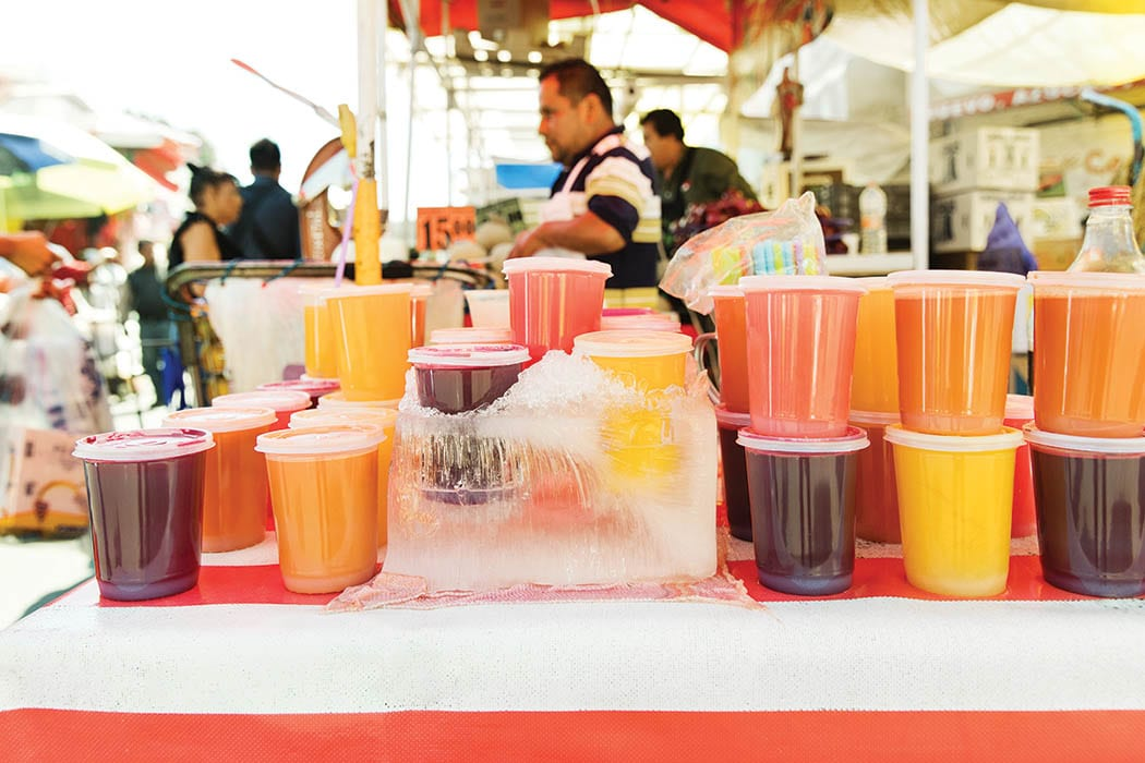 The city's best agua frescas are typically found in markets and sold by street vendors.