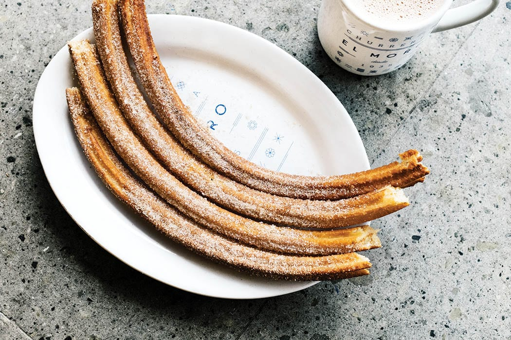 Churros and hot chocolate are a common pairing.