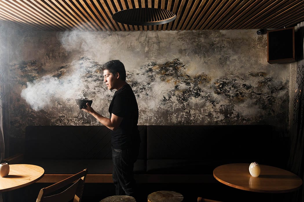 The heady aroma of smoldering herbs fills the bar at Xaman.
