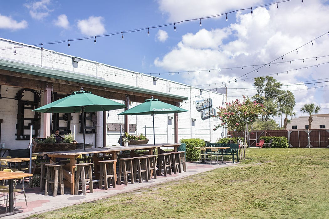 A simple but comfortable outdoor beer garden draws locals to the brewery's yard.