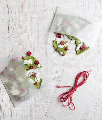 Matcha Chocolate Bark with Berries and Coconut