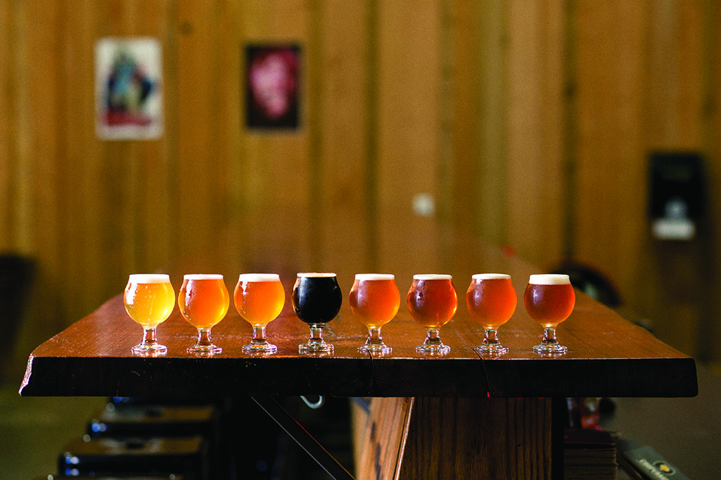 A flight of beers at Cooperage Brewing. | Photo by Dan Quinones.