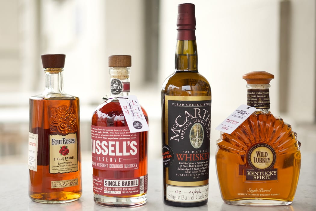 Bottled private barrel selections at Hard Water in San Francisco. Image courtesy of Hard Water.