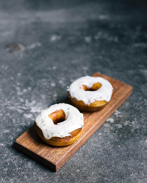 Doughnuts make an appearance at the shop several times per week, to accompany the delicious coffee drinks.