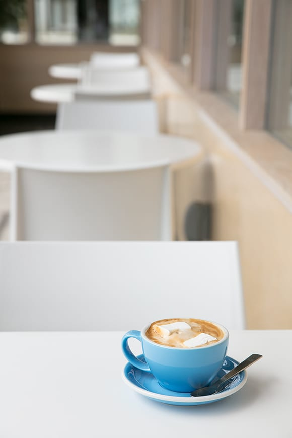 The shop offers an array of specialty lattes with flavor infusions, like marshmallows, cereal milks and M&M ganache.