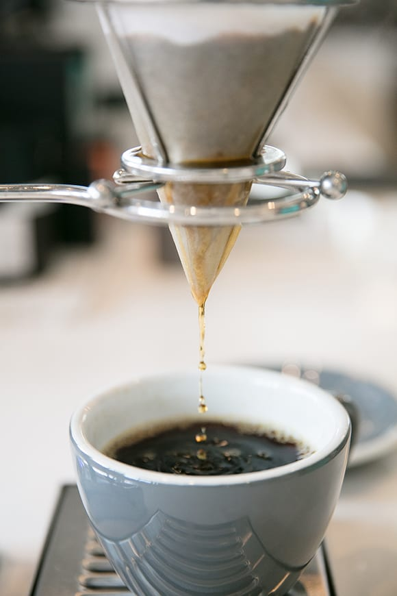 The café utilizes various roasting and brewing technologies to help create fresh, fast cups of coffee.