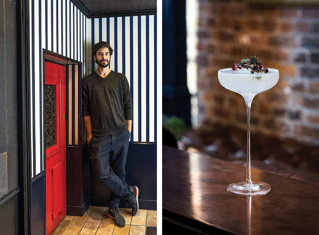 Left: Little Red Door owner Dotan Shalev | Right: the Modernisme cocktail at Little Red Door