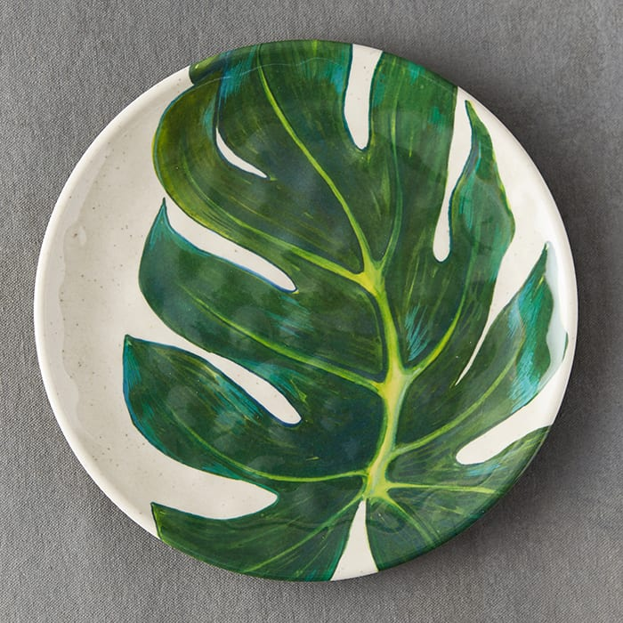 Tropical Foliage Melamine Plate, $12