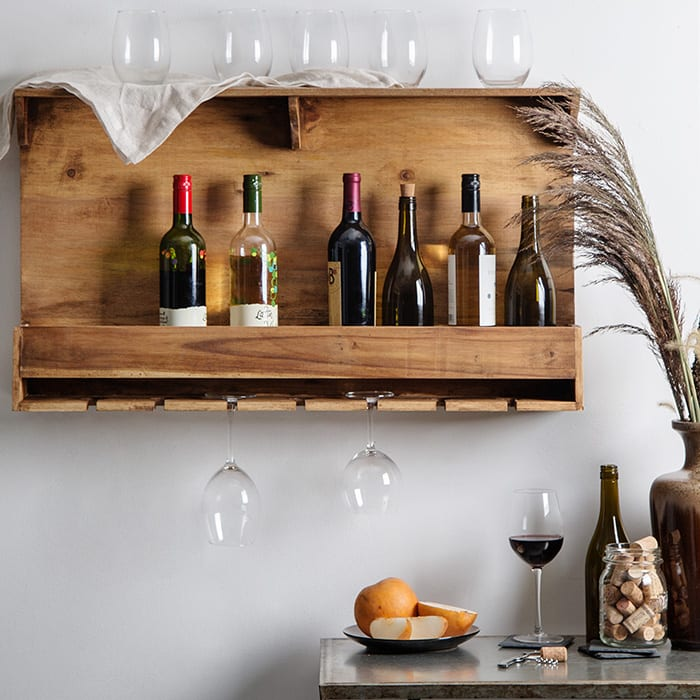 Reclaimed Wood Wall Mounted Wine Bottle & Stemware Rack, $98