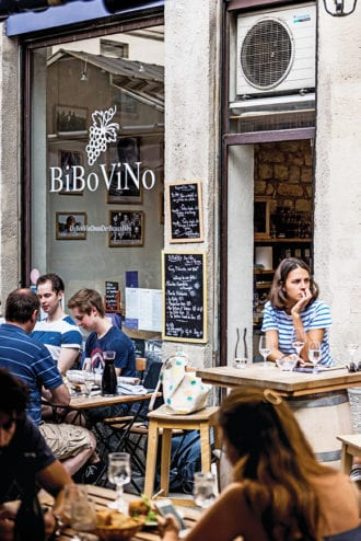 A BiBoViNo store and café at Marché des Enfants Rouges in Le Marais, Paris | Photo by caleb krivoshey..