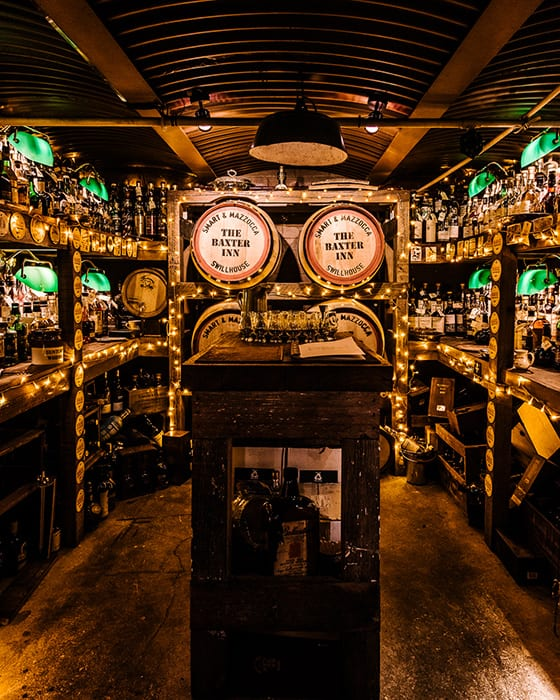 A tiny alcove illuminated by fairy lights, a single leather menu. This is The Baxter Inn's top shelf whiskey room.