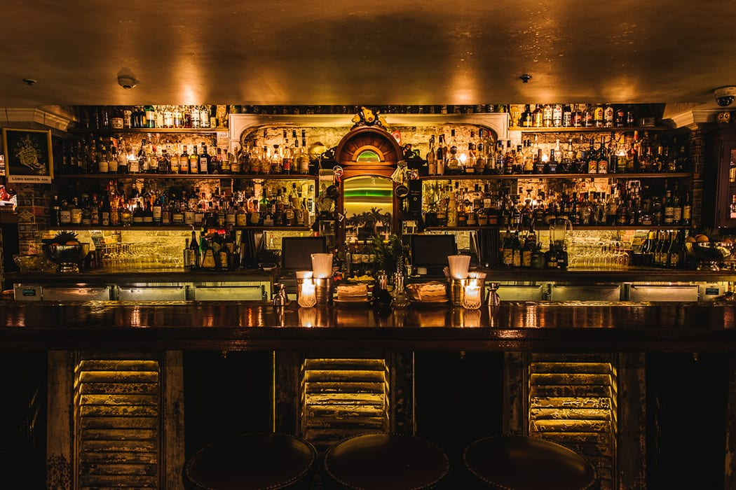 Many bars in Sydney are underground (literally) and near pitch black. Lobo Plantation is one such venue with clever lighting lending itself to a gleaming bar and, in this case, luminous rum bottles.