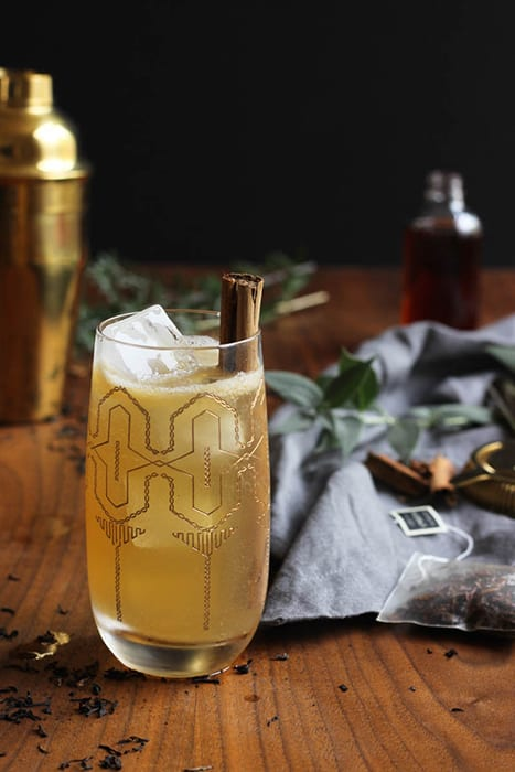 Christy Moyer is a wiz at making great cocktails that are easy to replicate at home, like this Cold Toddy made with whiskey, tea, lemon and ginger beer. | Follow her at @thesharedsip.