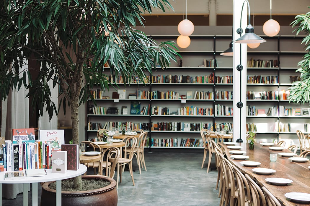 A bookstore shares floorspace with the brewpub and restaurant at Bhavana.