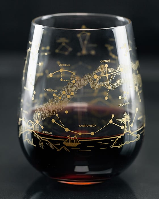 Night Sky Star Chart Stemless Wine Glass. |  cognitive-surplus.com, $50 for a set of four