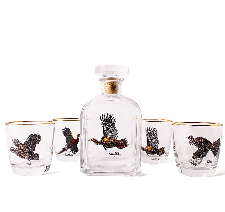 Game Bird Decanter + Glasses. | ggmercantileco.com, $86