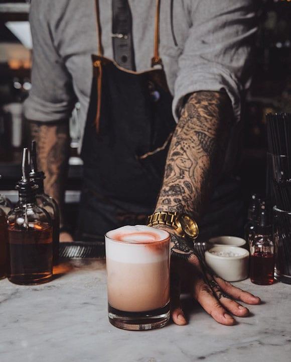 Trifecta Tavern's Sloe Gin Fizz. | Photo by Jordan Hughes.