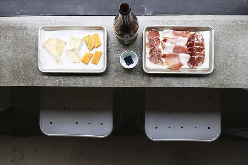 At the taproom, saké is paired with cheese and cured meats.