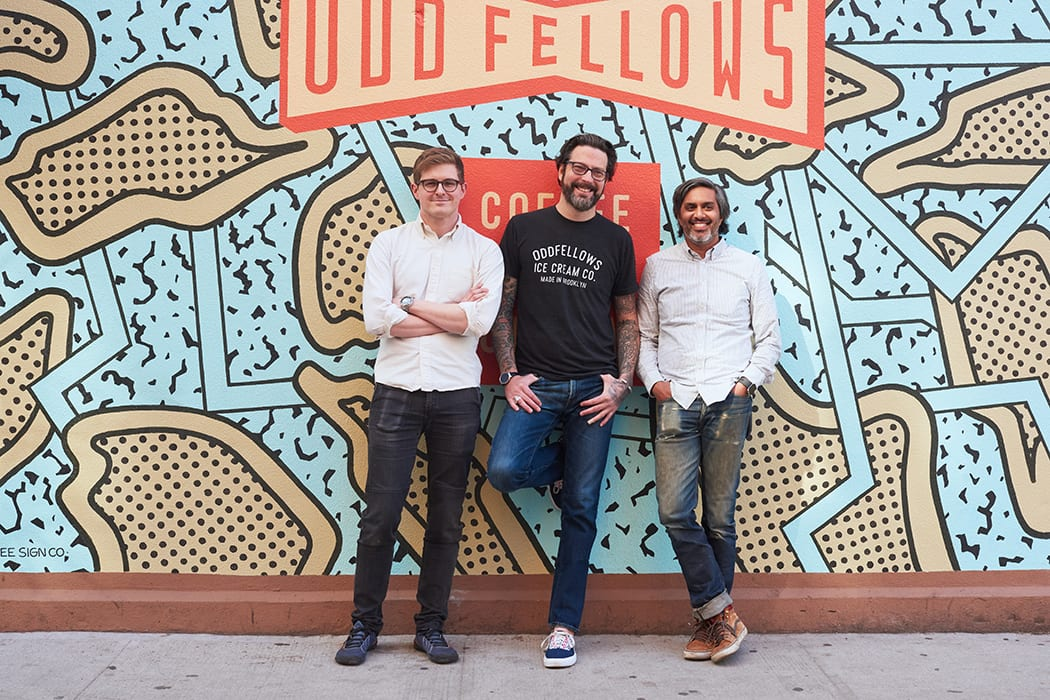 The OddFellows team from left to right: Beverage director Andy Mullins, co-owner Sam Mason and co-owner Mohan Kumar.