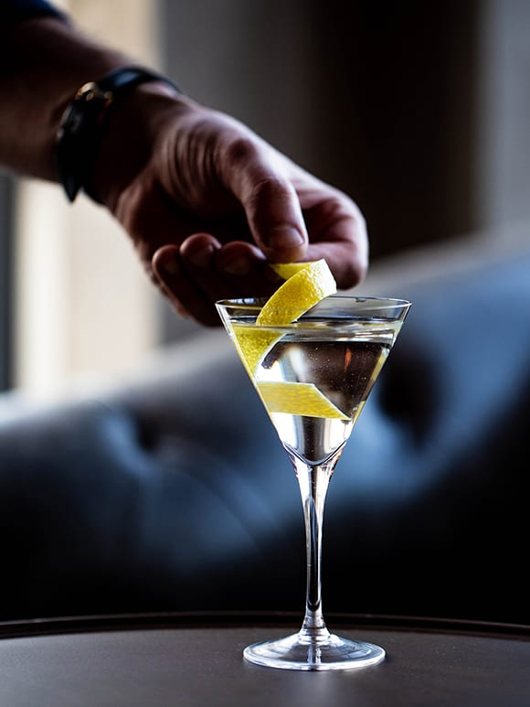 The Telegraph cocktail features London Dry gin, pear, Americano and eucalyptus.