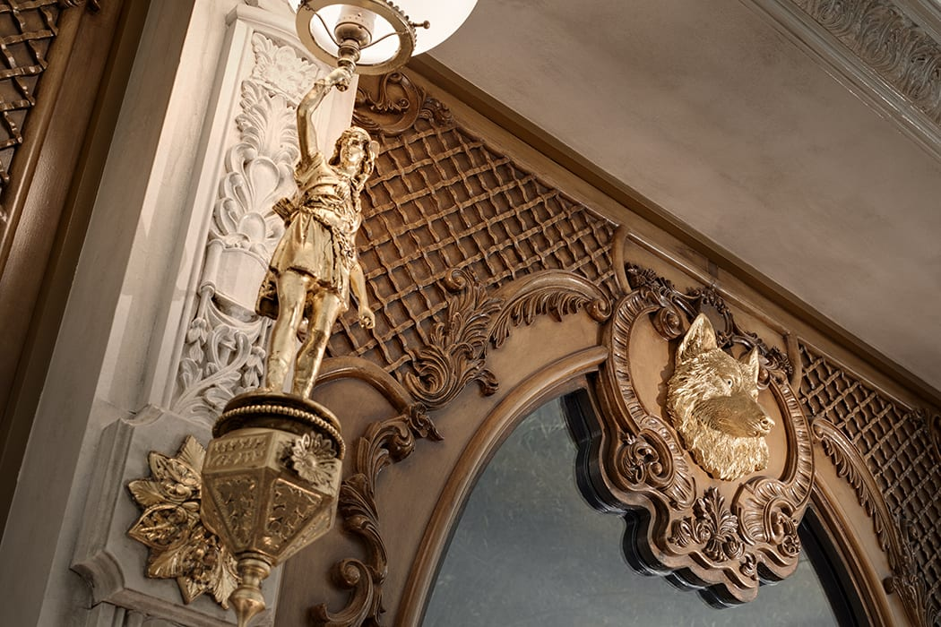 Details throughout the space reference French Art Nouveau and Victorian Rococo Revival styles.  | Photo by Zack Benson.