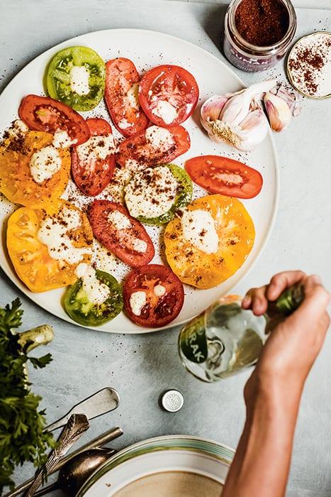 Arak Drizzled Heirloom Tomatoes.   Photo by Ernie Enkler.