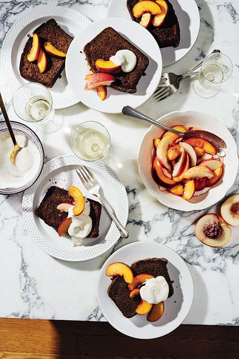 Griddled Zucchini Bread with Moscato Peaches and Crème