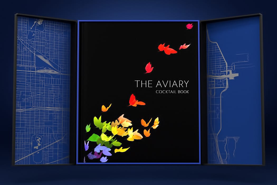 The reserve edition of the Aviary Cocktail book comes packaged in a custom-designed slipcase.