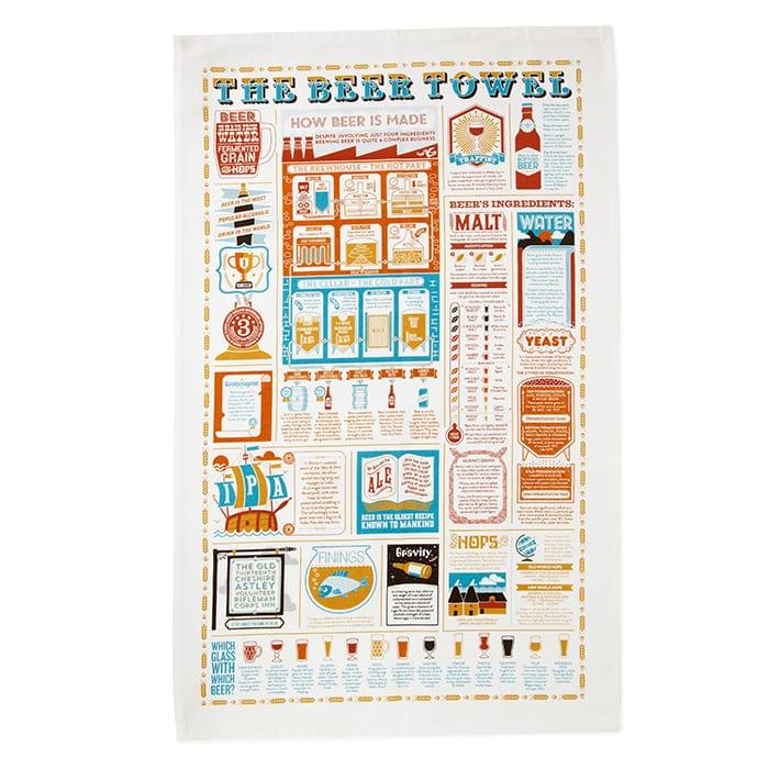 Beer Lover's Tea Towel. |  $14, uncommongoods.com