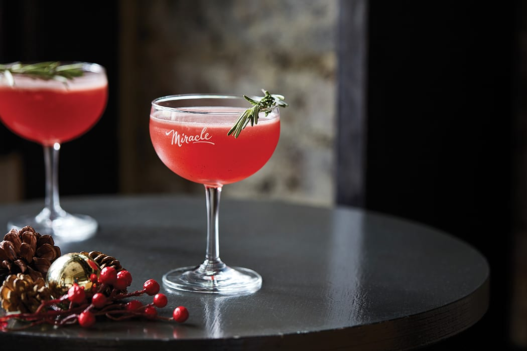 During the Miracle pop-up, even the drink menu transforms to feature holiday-ready cocktails like the Christmaspolitan, a fun take on the Cosmopolitan. | Photo by Eric Medsker.