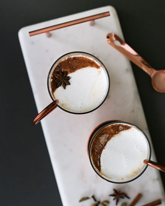This Bourbon Chai cocktail from Women and Whiskies combines black tea, bourbon and spices. | Follow them at  @womenandwhiskies.