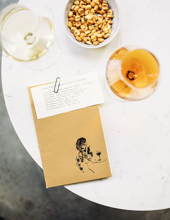 The menu features a wide range of wines, from robust and rustic reds to silky smooth orange wines.