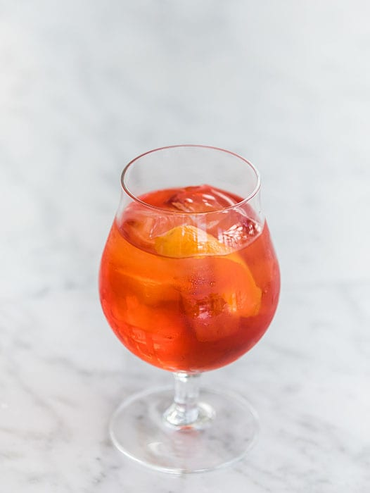 Cocktails like the Gin Act feature Campari, sweet vermouth and Sauvignon Blanc.