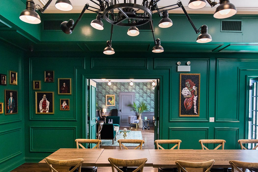 The Green Room is one of the rentable spaces at Bixi. Artsy oil portraits of the staff, painted with dragon features, line the walls.
