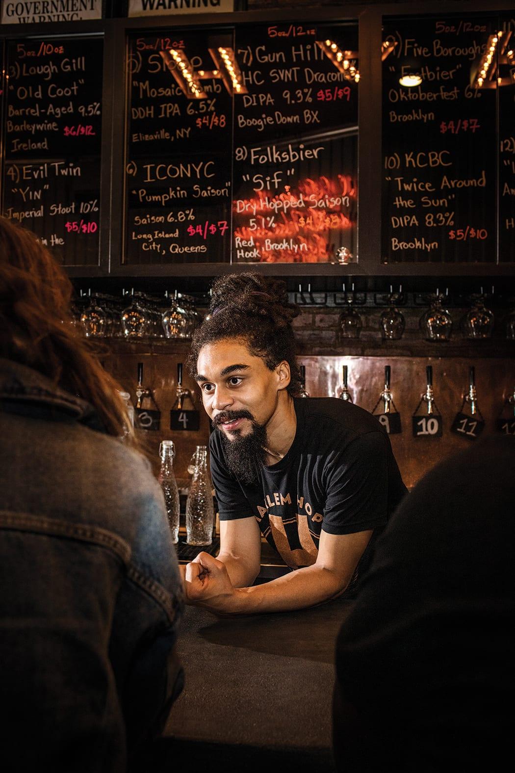 Harlem Hops bartender Donat De La Cruz.