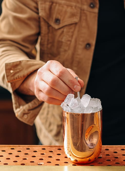 The Haymaker cocktail is a staple of the menu. It features white rum, ginger vinegar, honey and salt.