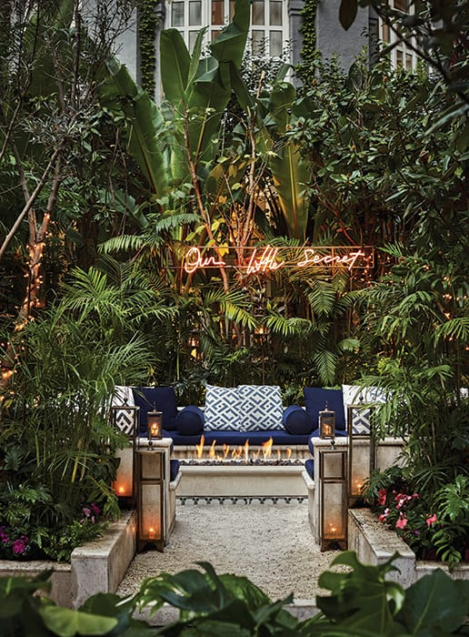 The courtyard at Fifty Mils at the Four Seasons Hotel inMexico City. | Photo by Christian Horan Photography.