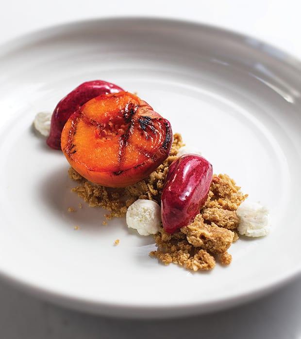 Negroni-Poached Peaches