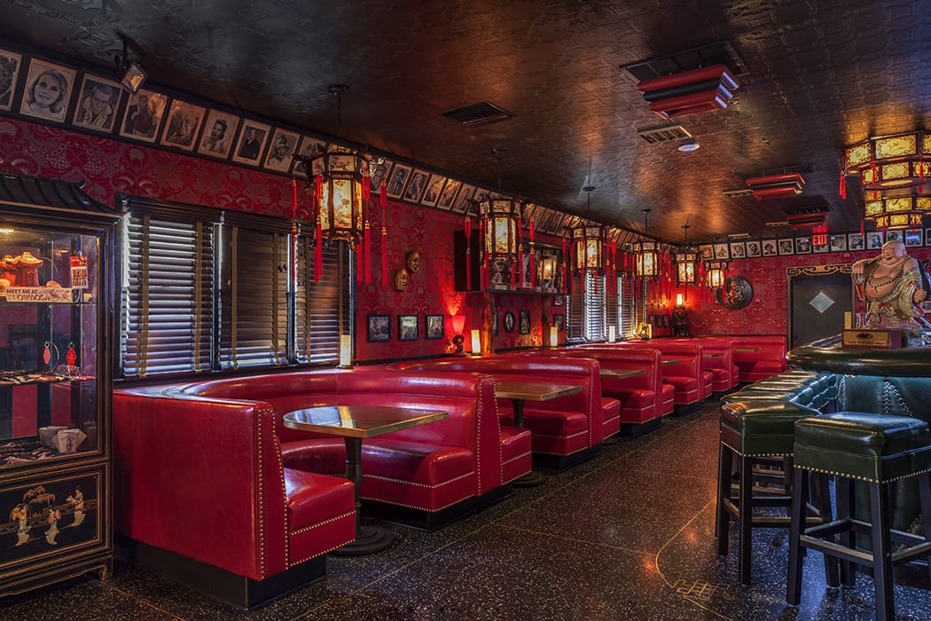 The bar's iconic red booths were reupholstered with a cleaner, brighter shade of red.
