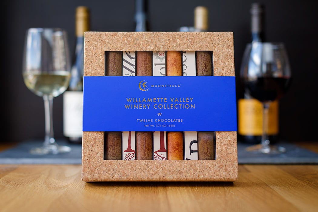 Willamette Valley Winery Chocolates. |  $35, moonstruckchocolate.com