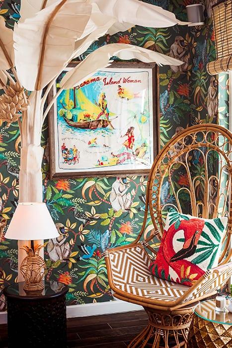 Tropical decor sets a breezy tone for the interior.