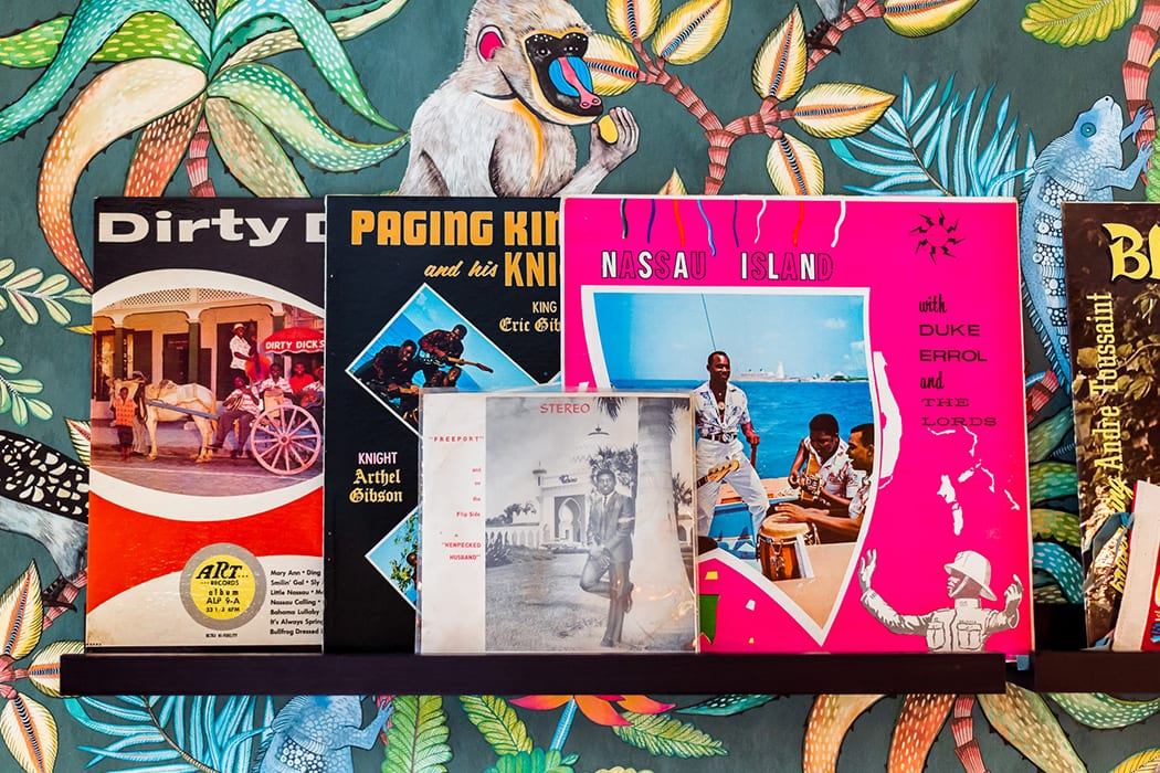Vintage records help create tropical throwback vibes.