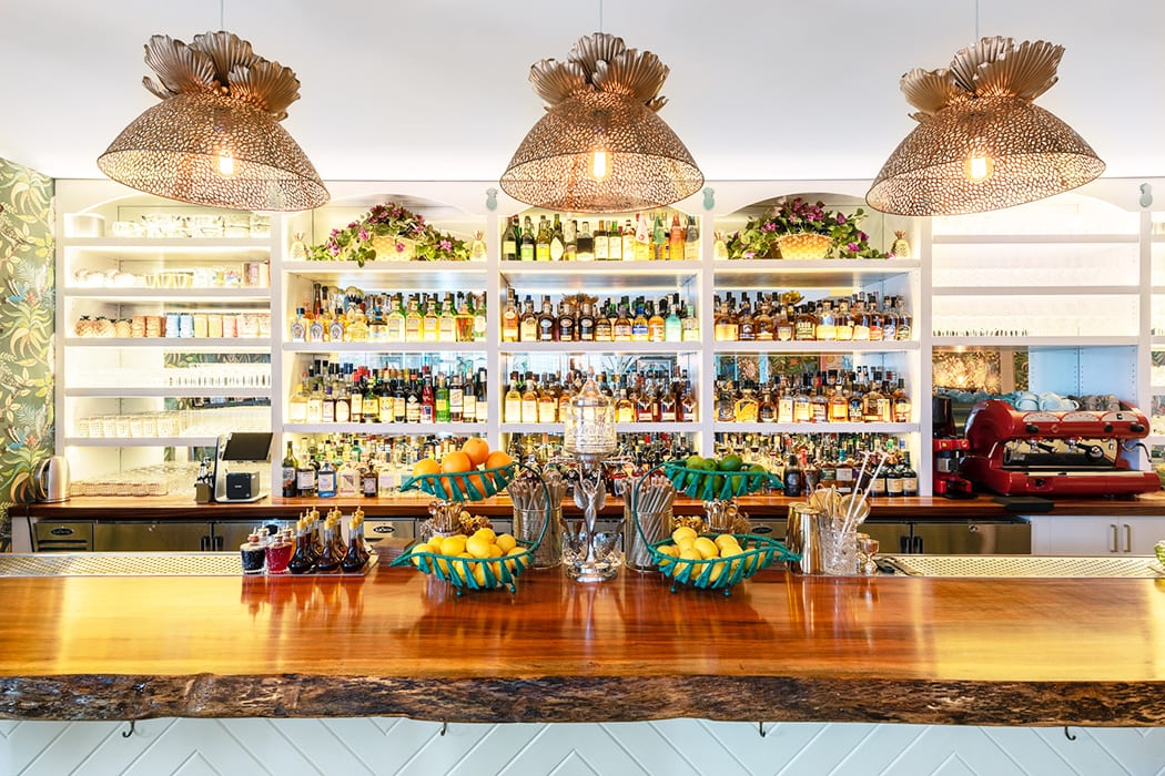 The bar has over 400 bottles of spirits, liqueurs and bitters, the largest selection on the island.